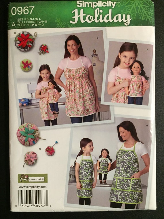 """Simplicity 0967 Sewing Pattern Child's and Misses Aprons and 18"""" Doll Aprons and Pin Cushion in Three Sizes Child Size 3-8 Adult Size 10-20"""
