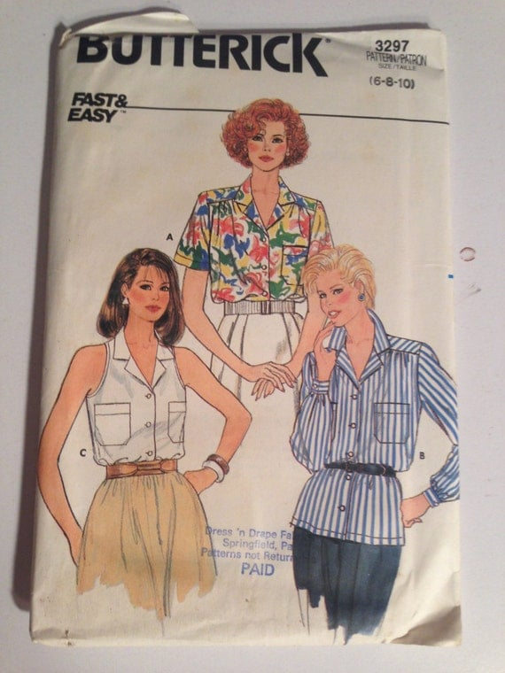 Butterick 3297 Sewing Pattern 80s UNCUT Fast ans Easy Misses Blouse Size 6-8-10