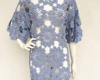 Incredible 1960s crochet knit boho dress/cover up