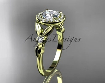 "14kt yellow gold diamond floral wedding ring, engagement ring with a ""Forever One"" Moissanite center stone ADLR129"