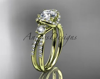 14kt yellow gold diamond unique engagement ring, wedding ring ADER146