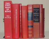 VINTAGE BOOK STACK Eight 8 Red Vintage Books Photo Props Decorator Books Instant Collection Wedding Decor Instant Library Decorative Books