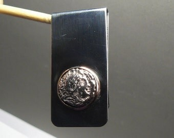 Hercules (Herakles) money clip - authentic ancient Greek coin jewelry, 14kgf and stainless steel