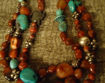 Turquoise Boho  and Coral Southwestern Three Strand Necklace