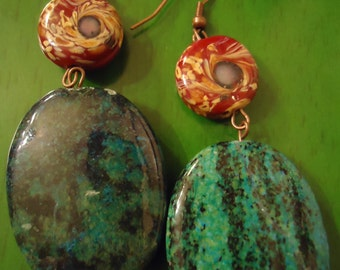 Boho Chic Green Passion in Red Drop Earrings