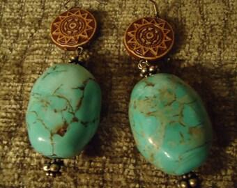 Boho Native Brilliant Turquoise Skies Drop Earrings
