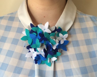 Felt Flower Statement Necklace