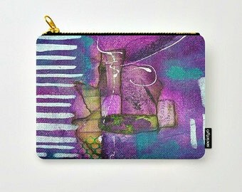 Zippered pouch of Purple collage, Purple Visions #2, zippered pouch