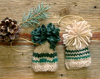 Miniature Knitted Hat Ornaments- Holiday Decor- Rustic, Cabin, Country- Dark Green, Beige- Tiny Knit Hats- Doll, Bears