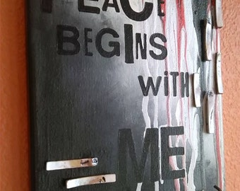 Peace Begins With Me canvas key holder