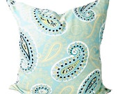 BLUE Paisley PILLOW,  Blue Pillow Cover, Decorative Pillow, Blue and Yellow Pillow, Paisley Pillows, Accent Pillow, All Sizes, Euro, Cushion