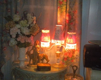 Gorgeous Chic One of a Kind Lamp with Handmade Shades, Shabby Chic, Prism Lamp, 3 arm Lamp, Pretty in Pink
