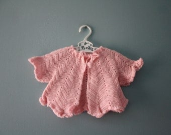 Vintage hand crocheted pink cardigan sweater / newborn matinee sweater / infant baby knit sweater
