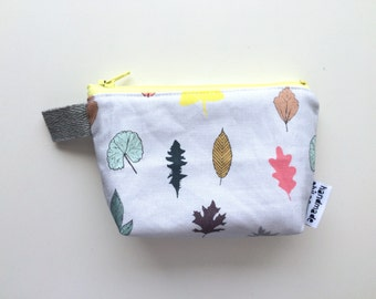 Leaves Divided Coin Purse/ Mini Pouch (handmade philosophy's pattern)
