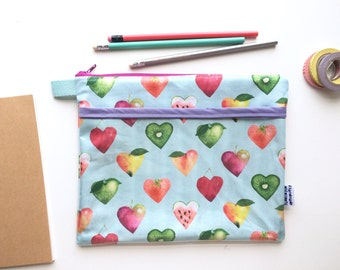 I Heart Fruits Divided Pouch Medium (handmade philosophy's pattern)