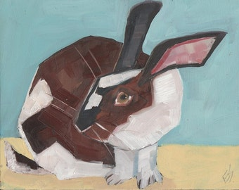 Brown And White Rabbit Original Oil Painting