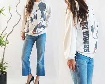 1990s Vintage Mickey Mouse Sweatshirt Front Back OSFA