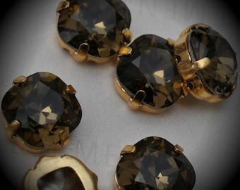 4470 10mm Genuine Swarovski Crystals Smoky Quartz Sew On Rhinestones Gold Plated Beads