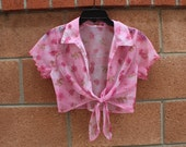 Pink sheer top with front knot size medium