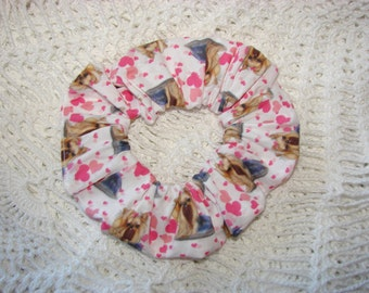 Yorkie Dog Hearts Canine Fabric Hair Scrunchie, womans scrunchies, valentines, yorkshire terrier, gifts for pet lovers, women's accessories