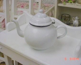 French Enamel Teapot Vintage Cottage Farmhouse Prairie Chic