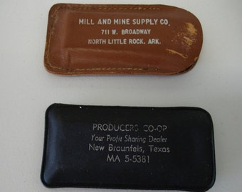 Vintage Lot of 2 Knife Pocket Hone Stones Advertising Stones Texas-