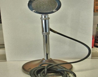 Vintage Astatic Microphone Model D 104 And E 5 Stand Microphone and Stand