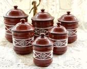 Vintage French, kitchen canisters, French enamelware, set of 6, Art Deco era, enamel kitchenware, kitchen storage, French tins, superb set