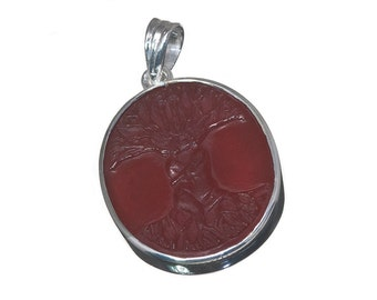 Red Agate Tree of Life Pendant Sterling Silver 925