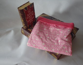 Believe Hope Dream Flannel and Pink Fleece Snuggle Bag