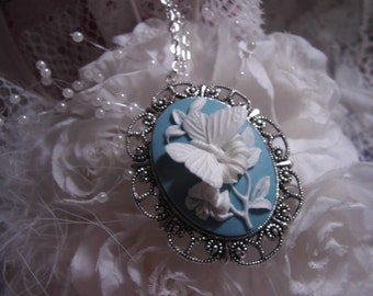 White and Blue Butterfly Cameo Ladies Silver Filegre art designer Necklace Pendant