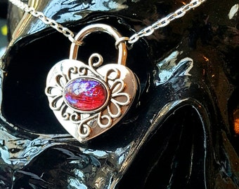 HOT Silver Mexican Fire Opal Dragons Breath Heart Lock and Key Necklace Discreet Slave BDSM Day Collar
