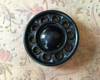 Large Pretty Black Celluloid Button