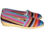 Vintage 80s Colorful Woven FLEXIDRILLES Low Wedge Espadrille Shoes- Size 7