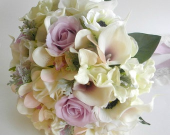 Ready to Ship- Real Touch Bridal Bouquet in Ivory,  Lavender and Blush with Roses,  Calla Lily, Anemone, Orchid and Hydrangea