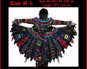 elf coat, eLf sWEATER, Sweater coat, size M, size L, women hoodie, hippie, costume, gypsy, patchwork, dreamcoat, OOAK