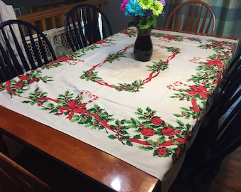 Vintage Christmas or Holiday White luncheon tablecloth for housewares, home decor by MarlenesAttic