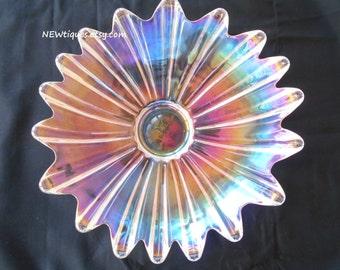 "Federal Glass Bowl Large / Iridescent / Celestial Pattern bowl /Large / 11.5"" Diameter"
