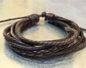 Leather Bracelet Men's Bracelet Leather Wrap Bracelet Brown Leather Bracelet