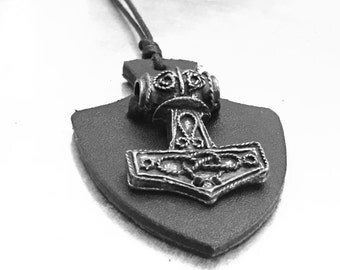 Thor's Hammer, Leather Shield and Hammer, Mjölnir Hammer, Thor Norse God, God of Thunder Necklace, Garnet