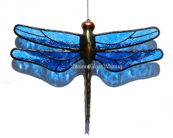 "Stained Glass DRAGONFLY Suncatcher, ""Sky Dancer"", Bright Cornflower Blue Pressed Stained Glass, Textured, Handcast Metal Body, USA Handmade"