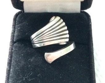 Signed Tuttle Onslow Sterling Silver Vintage Spoon Ring