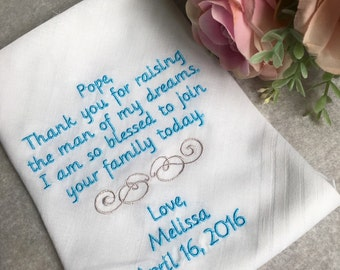 Father of the groom  Handkerchief,Cute note from bride to her father of the groom on her wedding day