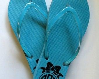 Custom flip flops personalized monogram or design