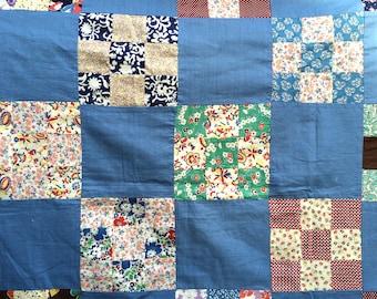Pristine 1930s Vintage Antique Quilt top - Nine Patch