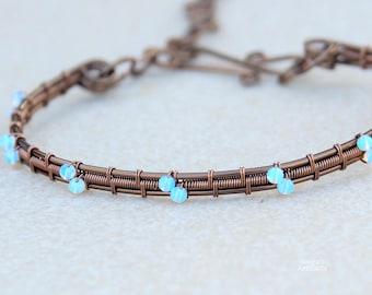 Opalite wire wrapped bracelet bangle/Gift for her/Healing jewelry/Yoga bracelet/Gift for girlfriend/Gemstone bangle/Handmade/Artisan jewelry