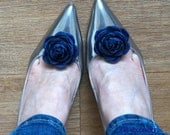 Navy Blue fabric Flower Rose Hair Clip, Bridal blue Shoe Clips, Something Blue Dress Sash Brooch, Weddings Accessories, Boutonniere, Corsage