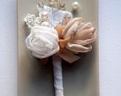 Grooms Boutonniere, Weddings Button Hole, Pale Brown Antique Pink Ivory Boutonniere, Bridal Accessories, Men Button Hole, Corsage, Hair Clip