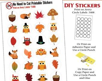 Autumn No Cut Needed Printable Planner Stickers Fall Owl Turkeys Fox, Print On Avery Label 5408