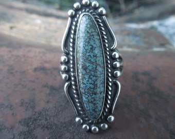 Spider Web Turquoise Ring Sterling Silver Matrix Native American Indian Size 5